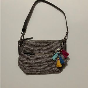 The Sak Grey Crotchet Purse with Multicolor Tassel